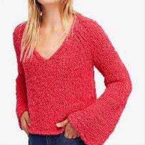 NWT Free People Sand Dune Coral Knit Sweater Sz M